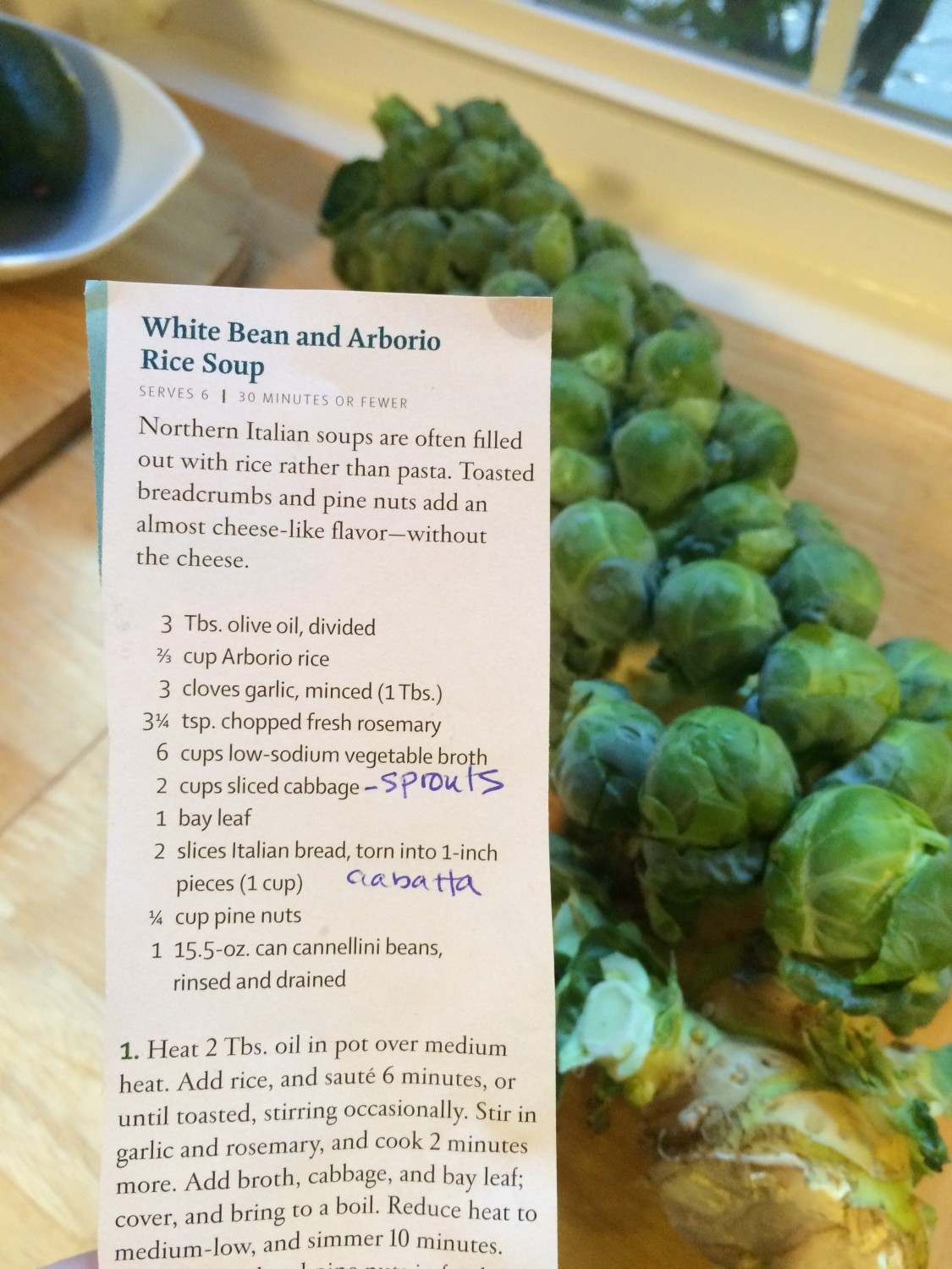 recipe and sprouts